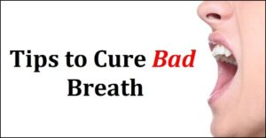 woman breathing with open mouth and text about cure bad breath